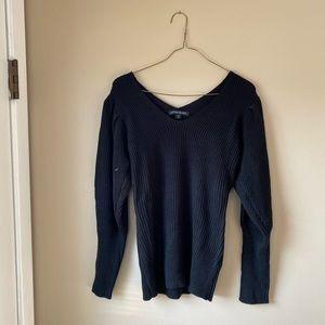Boston Proper Black Puff Sleeve V Neck Sweater